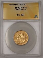1899-M Australia One Sovereign Gold Coin ANACS AU-50