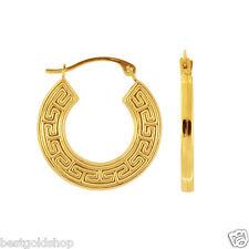 Cute Shiny Textured Flat Greek Key Hoop Earrings Real 14K Yellow Gold 18mm