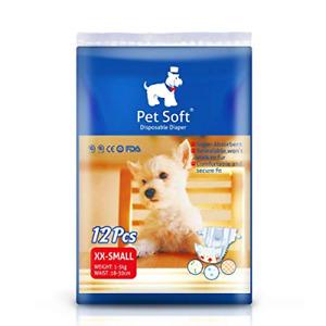 Pet Soft Pet Disposable Female Puppy Dog Diaper,12Pcs,XXS