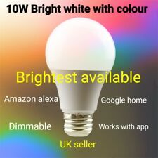 E27 WiFi Smart Light Bulb For Google Home Amazon Alexa 10W Bright White LED RGB