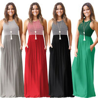 Women Summer Boho Sleeveless Long Maxi Dress Stripe High Waisted Beach Sundress