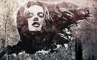 Framed Canvas stencil girl face  street art graffiti urban painting licensed