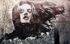 Framed Canvas Banksy style stencil girl face  street art graffiti urban