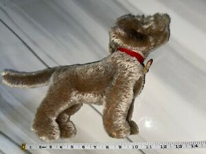 "Steiff Raudi Dog 14"" Rare Tags Vintage Red Collar"