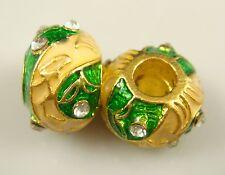 Clover Faberge Egg Bead Drip Gum Lime Clear Crystal Fit sterling 925 Bracelet 4h