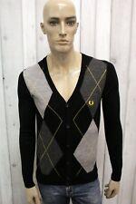 FRED PERRY Cardigan Uomo Taglia S Maglione Lana Merino Casual Sweater Pullover