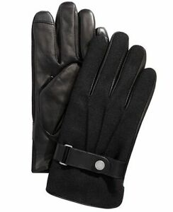 Polo Ralph Lauren mens Melton Touch Screen Black Leather & Wool Gloves Large