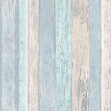 Wood Effect Wallpaper Wooden Panel Planks Boards Beach Hut Glitter Blue Coloroll