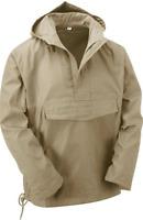 Beige Military Army Style Smock Winter Hooded Windbreaker Anorak Jacket Coat Top