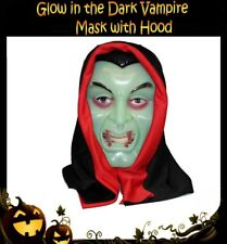 GLOW in the DARK Vampire HOOD MASK Halloween Horror Costume Party Accessory NEW