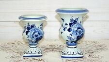 2 x Vintage Delft Blue Chinois Hand-Painted Floral Delft Pottery Dutch Urn Vase