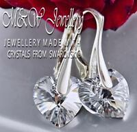 925 STERLING SILVER EARRINGS CRYSTALS FROM SWAROVSKI® 10MM HEART - CRYSTAL CAL