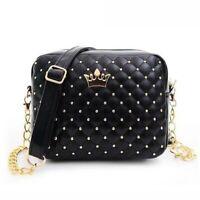 Women Messenger Handbag Rivet Chain Shoulder High Quality Leather Cross Body Bag