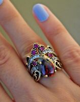 Turkish Handmade Jewelry Sterling Silver 925 Bronze Ruby ring 7 8 9