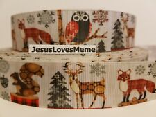 Grosgrain Ribbon Wildlife Fox Reindeer Squirrel Pine Trees Rustic Wood Grain 1""
