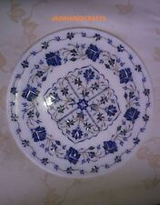 "15"" marble coffee corner center side dinner plate inlay stone table top"