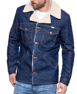 Ex Wrangler Mens Collar Denim Jacket Sherpa Regular Authentic Trucker Seconds