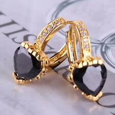 Black sapphire 24k yellow gold filled heart nice-looking leverback earring