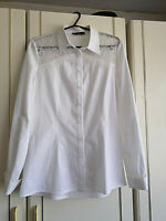ON FASHION WOMENS WHITE LACE BLOUSE SHIRT TOP SIZE 12 LONG SLEEVE PIT TO PIT 18