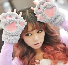 Winter Women Cute Cat Claw Paw Plush Mittens Short Fingerless Gloves Half Finger