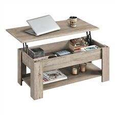 Modern Lift Top Coffee Table w/Hidden Storage & Shelf For Living Room Gray