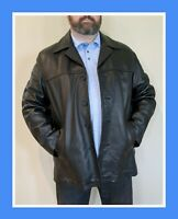 Men's XL LEATHER JACKET Car Coat Button Up Black w/Thinsulate Liner