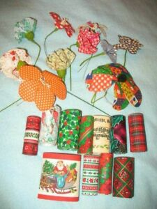 """Box of Cotton Ribbon Flowers and Christmas Patterns of Cotton Ribbon, 3"""" Wide"""