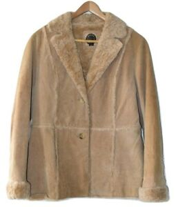 GIACCA Women's Size Large 5 Star 100% Genuine Leather Jacket Faux Fur Trim