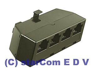 4-fach ISDN Splitter Adapter 4x RJ-45 Verteiler Telefon Multi-Port Anschluss