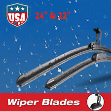 "24"" & 22"" Premium Hybrid silicone Windshield Wiper Blades High Quality J-Hook US"