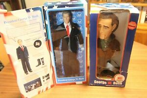2 Toy Presidents George W Bush Talking Action Figure and Talking George IN BOX