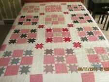"Vintage Hand Made Hand Quilted Quilt 77"" x 91"" Red, White, Blue"