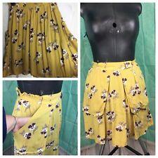 River Island Yellow Mustard floral skirt Pockets Size 8 Elasticated Summer