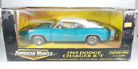ERTL AMERICAN MUSCLE BLUE/WHITE 1969 DODGE CHARGER R/T 1/18 SCALE DIECAST NIB