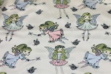 NEW Fabric Satin Fairies Off-White Fat Quarter Printed Shiny Fairy Material