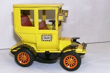 Vintage Yellow Taxi Bandai Japan 1950's Tin Litho Friction Old Toy Car