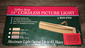 """Brand New Gallery Series 14"""" Brass Cordless Picture Light By House Of Troy"""