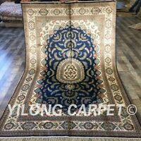 Yilong 5'x8' Blue Handmade Silk Area Rug Oriental Hand Knotted Carpet Sale W198C