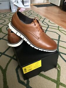 NEW Cole Haan Zerogrand Leather Plain Toe Shoes British Tan/Ivory 10.5M $270