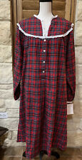 Women's Lanz of Salzburg Long Red Plaid Flannel Nightgown Large NWT Warm