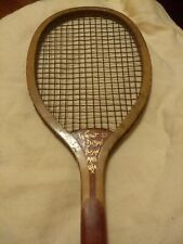 """Antique Wright & Ditson """"The Hub� Wood Tennis Racket Two Tone Strings"""