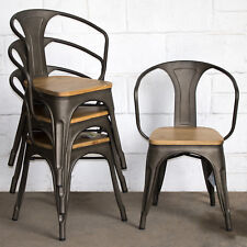 TOLIX STYLE METAL BISTRO CHAIRS CAFE KITCHEN DINING RUSTIC VINTAGE FURNITURE NEW