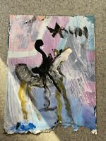 """Rare """"Dual Image"""" Purvis Young Original Signed Painting Horses and Riders COA"""