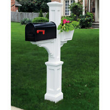 Large Traditional Decorative Polymer Mailbox Post Pole Planter - White - NO TAX!