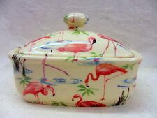 Pretty Flamingo design butterdish by Heron Cross Pottery
