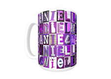 DANIELLE Coffee Mug / Cup featuring the name in photos of PURPLE sign letters