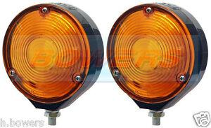 2 GENUINE HELLA LOLLIPOP LOLLYPOP EARRING AMBER ORANGE TRUCK MIRROR LAMPS LIGHTS