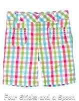 """NWT"" Gymboree Girl's Ice Cream Sweetie Plaid Pastel Bermuda Shorts 3, 4, 5, 7"