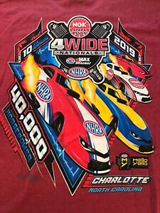 LOT OF 2  NHRA DRAG RACING 2019 4 WIDE N.C. NATIONALS Red T- SHIRTS  SIZE SMALL
