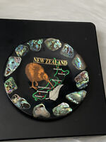 New Zealand Souvenir Black South Sea Shell Inlay Plate Kiwi Black Paua Abalone